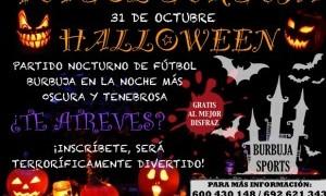 Partido de Fútbol burbuja en la noche de Halloween
